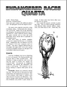 Endangered Races: Quasta
